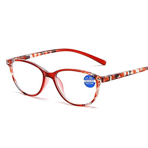 CHENPENG Gafas de Lectura con Bloqueo de luz Azul, Filtro de Rayos UV/deslumbramiento para lectores de computadora, Gafas para Juegos con bisagra de Resorte cómoda para Mujeres y Hombres,Rojo,2.0X