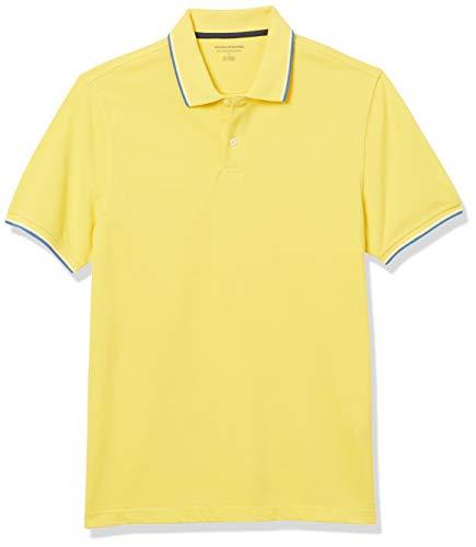 Amazon Essentials Slim-fit Striped Cotton Pique Poloshirt, Gelb, Blau und Weiß, L