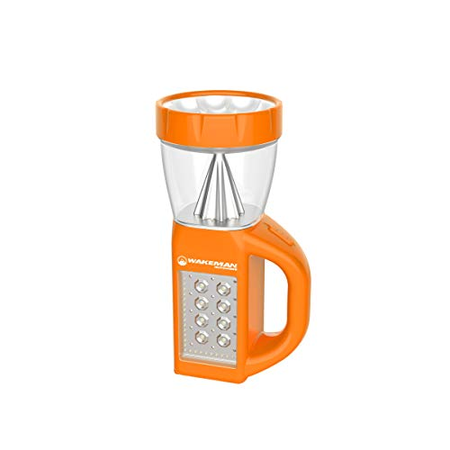 LED Lantern Flashlight Combo- 3-in-1 Lightweight Lamp with Side Panel Light- Portable for Camping, Hiking & Emergencies by Wakeman Outdoors (Orange)