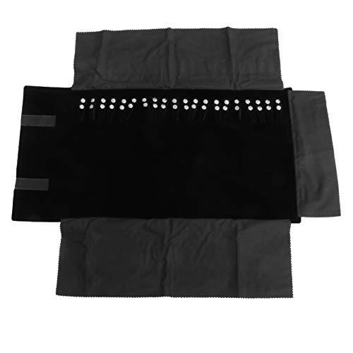 DOITOOL Portagioie in velluto da viaggio per gioielli, braccialetto, collana/anelli (nero)