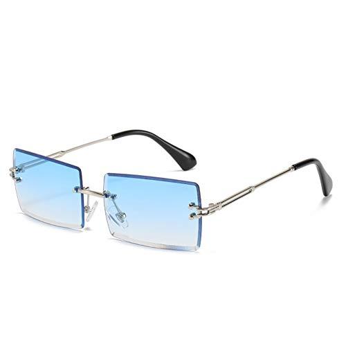 Grainas Retro Randlose Rechteck Sonnenbrille für Damen Herren Gold Ultraleicht Rahmen UV400-Schutz Vintage Bonbonfarben Klassische Quadratische Brille (Blau)
