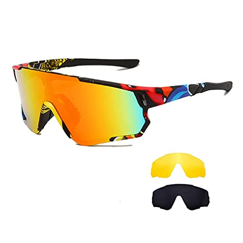 Long Keeper Occhiali Ciclismo Polarizzati con 3 Lenti Intercambiabili Occhiali da sole Sportivi da Uomo Donna UV400 Protezione per Corsa Bici Sport (Montature Colorata/ Rosso)