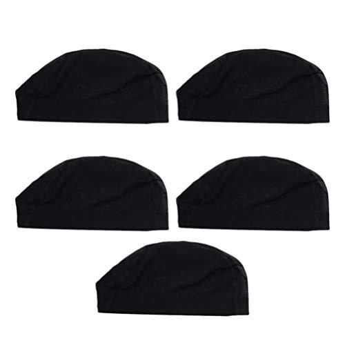 Minkissy Les Casquettes Noires de Perruque de dôme Maille la Casquette Naturelle de Perruque Caps Extensible de Perruque de Stockage pour Les Hommes de Femmes 5pcs