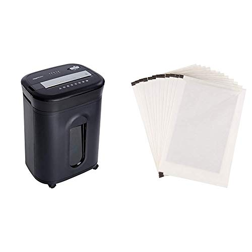AmazonBasics 15-Sheet Cross-Cut Paper/ CD/ Credit Card Shredder &  SP12A Shredder Sharpening & Lubricant Sheets - Pack of 12