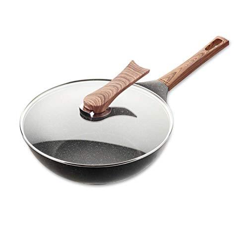 SMEJS Multifonctionnel non-bâton de pierre Pot de ménage Pan avec couvercle et poignée auxiliaire Wok