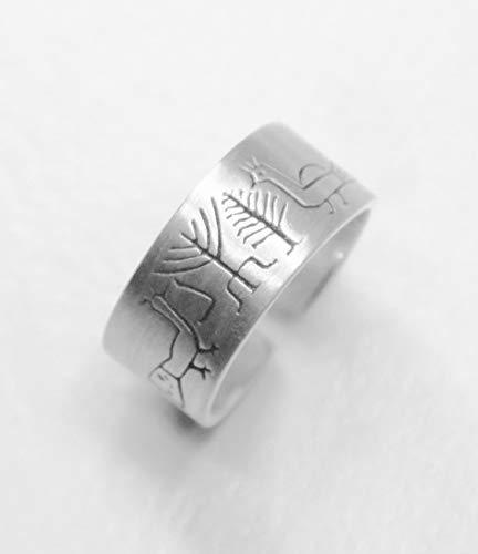 PEACOCKS 2: Handgearbeiteter verstellbarer unisex-Silberring, der mit einer Zeichnung einer Spüle aus dem 5. Jahrhundert aus Spanien geschnitzt ist