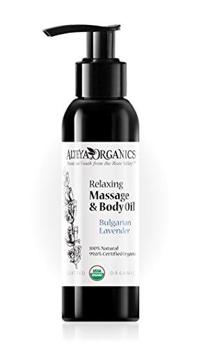 Alteya Organic Mélange de massage et d'huile corporelle avec lavande relaxante 125 ml - Certifiée 100% organique USDA, Pure bio naturelle - Traitement anti-stress apaisant calmant nourrissant la peau