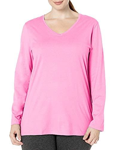 Just My Size Women's Plus Size Vneck Long Sleeve Tee, Pink Swish, 3X