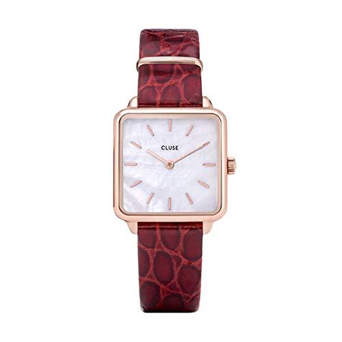 Reloj Cluse La Tétragone Cuadrado Rosado Esfera Blanca y Correa de Cuero