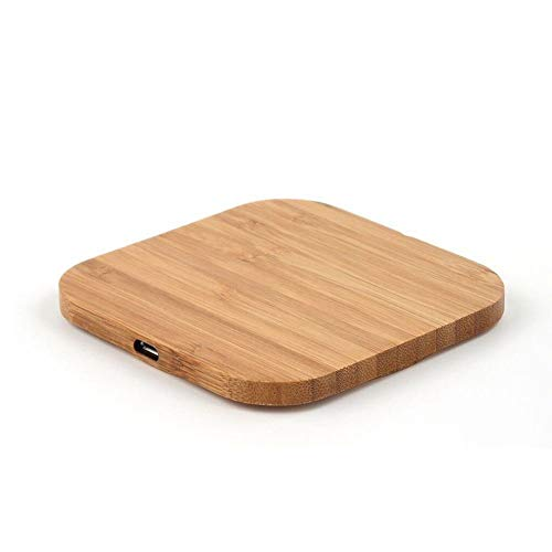 SODIAL Caricatore wireless portatile Qi ricarica pad in legno sottile per iPhone 8 / iPhone 8 Plus/iPhone X Smart Charger caricabatterie wireless per Samsung S7