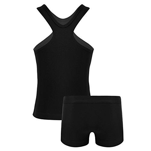 iEFiEL Tuta Sportiva per Bambina Set da Ginnastica Fitness Palestra Vestito da Balletto Tennis Atletica Ragazze 2 PCS Canotta + Pantaloncini Bikini Outfits 3-14Anni Nero D 10 Anni