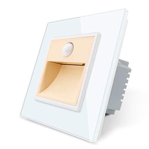 LIVOLO VL-C7-TBW-13-SR-11-A - Iluminación para escaleras, marco de cristal, para escaleras, pasillo, vestíbulo, cuarto de baño, color dorado