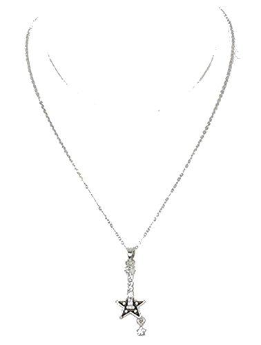 beyoutifulthings Damen Edelstahl Halskette Silber Anhänger Gitarre aus Epoxid schwarz mit farblosen Zirkonia Länge 41cm