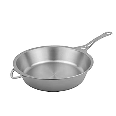 SOLIDTEKNICS nöni 11-inch Sauté Pan – Seamless Cookware, 1/8-inch Ferritic Stainless Steel, Satin Finish, Made in the USA