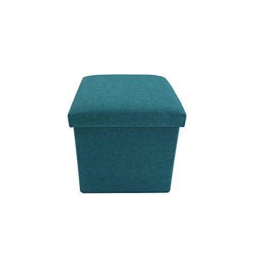 Rebecca Mobili Pouf cubo Pieghevole, ottomano poggiapiedi Quadrato, Azzurro Turchese, Tessuto - Misure 29 x 31 x 31 cm (HxLxP) - Art. RE6172