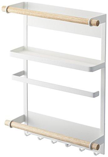 山崎実業 マグネット冷蔵庫サイドラック ホワイト 約W27.5×D7.5×H34cm トスカ キッチンペーパーホルダー 2901