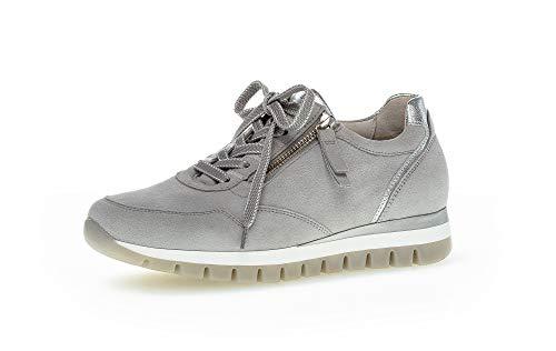 Gabor Damen Sneaker, Frauen Halbschuhe,lose Einlage,Komfortable Mehrweite (H),Freizeitschuhe,Plateausohle,Ladies,Light Grey/Silber,43 EU / 9 UK