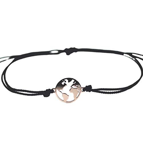 Edelschnitte Fußbändchen My World Globus Roségold 925er Silber Handmade Fußkette Fußband Weltkugel