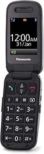 Panasonic KX-TU446EXB Teléfono Móvil Para Personas Mayores (Resistente a Golpes, Cámara, Incluye Auriculares y Cargador, Indicador LED)- Negro