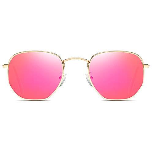 SWNN Sunglasses Nuevo Material Metálico Colorido UV400 Gafas De Sol Verde/Naranja/Rosa Lente Dorada Marco Hombres Y Mujeres con La Misma Conducción Conduciendo Gafas De Sol (Color : Pink)