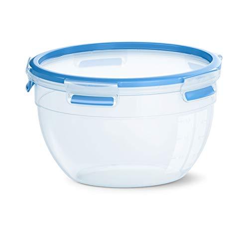Emsa CLIP & CLOSE Frischhaltedose, Aufbewahrungsdose, Dose, Rund, Kunststoff, Transparent/Blau, 2.6 L, N1011400