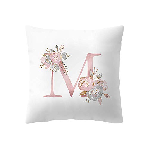 Amaone Cushion Cover 45cm x 45cm/18x18 Inches - Pillow Cases Square Letter Alphabet Flower Print Sofa Waist Chair Home Office Bar Car Decor Decorative Throw Pillowcase Protectors With Zipper