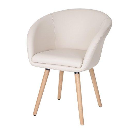 Chaise de Salle à Manger Malmö T633, Fauteuil, Design rétro des années 50 - Similicuir, crème