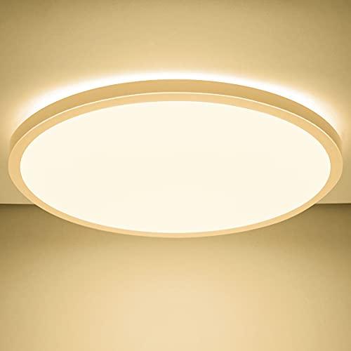 LED Deckenleuchte Flach, 24W 2200LM Rund Deckenlampe, 3000K Warmweiß, Ultra Dünn Deckenbeleuchtung IP44 für Feuchtraum, Kinderzimmer, Badezimmer, Küche, Wohnzimmer, Balkon, Bad, Flur, Ø420×25mm