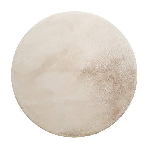 Homie Living, Moderner Hochflor Teppich - Läufer für Wohnzimmer, Flur, Schlafzimmer, VITA (200 cm rund, Creme beige)
