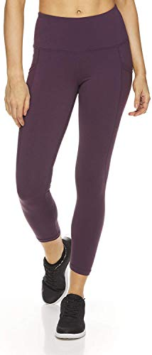 Reebok Women's High Waisted Capri Workout Leggings - Cropped Performance Compression Gym Tights - BlackBerry Wine Revel High Rise, Small
