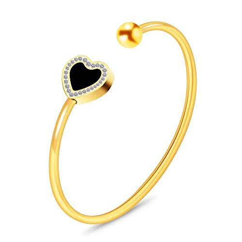 Bracelet 3 Couleur en Acier Inoxydable Charme Coeur Bracelets & Bracelets pour Femmes Cristal Strass Main Femelle Bijoux Doré