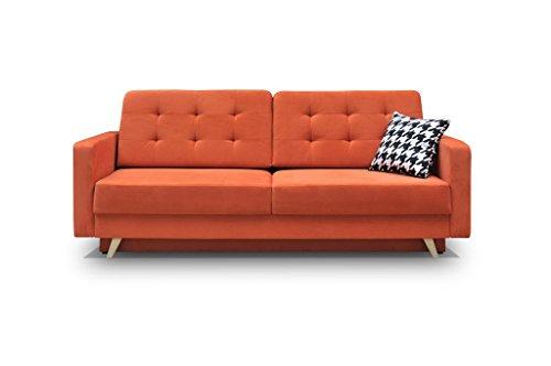 Schlafsofa Kippsofa Sofa mit Schlaffunktion Klappsofa Bettfunktion mit Bettkasten Couchgarnitur Couch Sofagarnitur - CARLA (Orange)