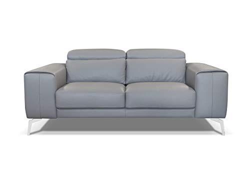 Amazon Marke -Alkove Elvas Modernes Ledersofa, 2-Sitzer Maxi, HELLGRAU