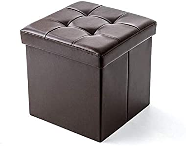Footstool Foldable Ottoman Storage Box Shoe Changing Stool Padded Footrest PU Leather Seat Make-up Cover Make-up Stool Availa