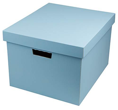 ヤマニパッケージ 収納BOX(L)(5枚入り) A4サイズ 【ブルー】 フタ付き 段ボール オフィス 収納
