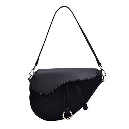 ZGBQ Damen Achsel Sattel Tasche All-Match Schulter Tasche Handtasche Bote Tasche Magnetisch Taste Mit Breit und eng 2 Schulter Gurte (Schwarz)…