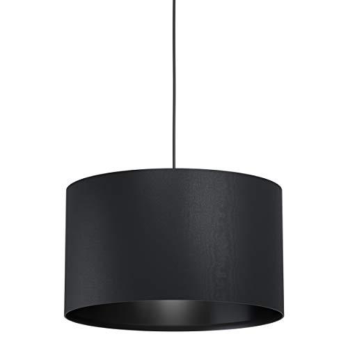 EGLO Pendelleuchte Maserlo 1, 1 flammige Hängelampe Vintage, Modern, Hängeleuchte aus Stahl und Textil in Schwarz, Esstischlampe, Wohnzimmerlampe hängend mit E27 Fassung, Ø 38 cm