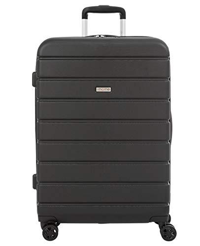 imome Top Maleta Mediana Negra Cierre TSA 67x47x27/30 cm Expandible | Trolley de Viaje con Carga USB | Maleta de Viaje Rígida 100% ABS Reforzado, Antiarañazos