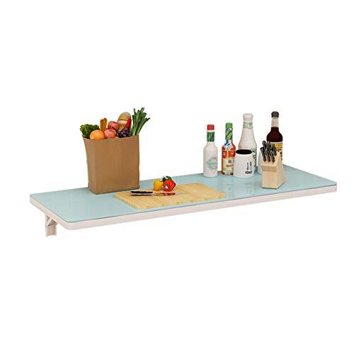 Mocowany na ścianie składany stół hartowane szkło pływający stół do jadalni na ścianę biurko do kuchni pralni mały apartament, może niedźwiedź 80 kg (kolor: Niebieski, rozmiar: 80 x 40 cm)