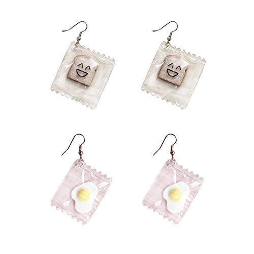 Funny Bread Eggs Earrings, Water Bag Shape Dangle Hook Earrings Charm Jewelry Gift Earrings for Women Girls (Bread Egg)