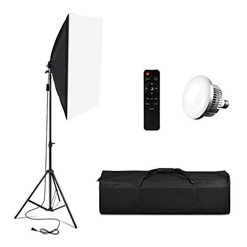 Softbox-Beleuchtungsset,Professionelles Studio Kontinuierliche Ausrüstung mit 2M Lichtstativ, 3200-5500K Dreifach-LED-Lampe mit Fernbedienung für Photo Studio Portraitfotografie, Videodreh