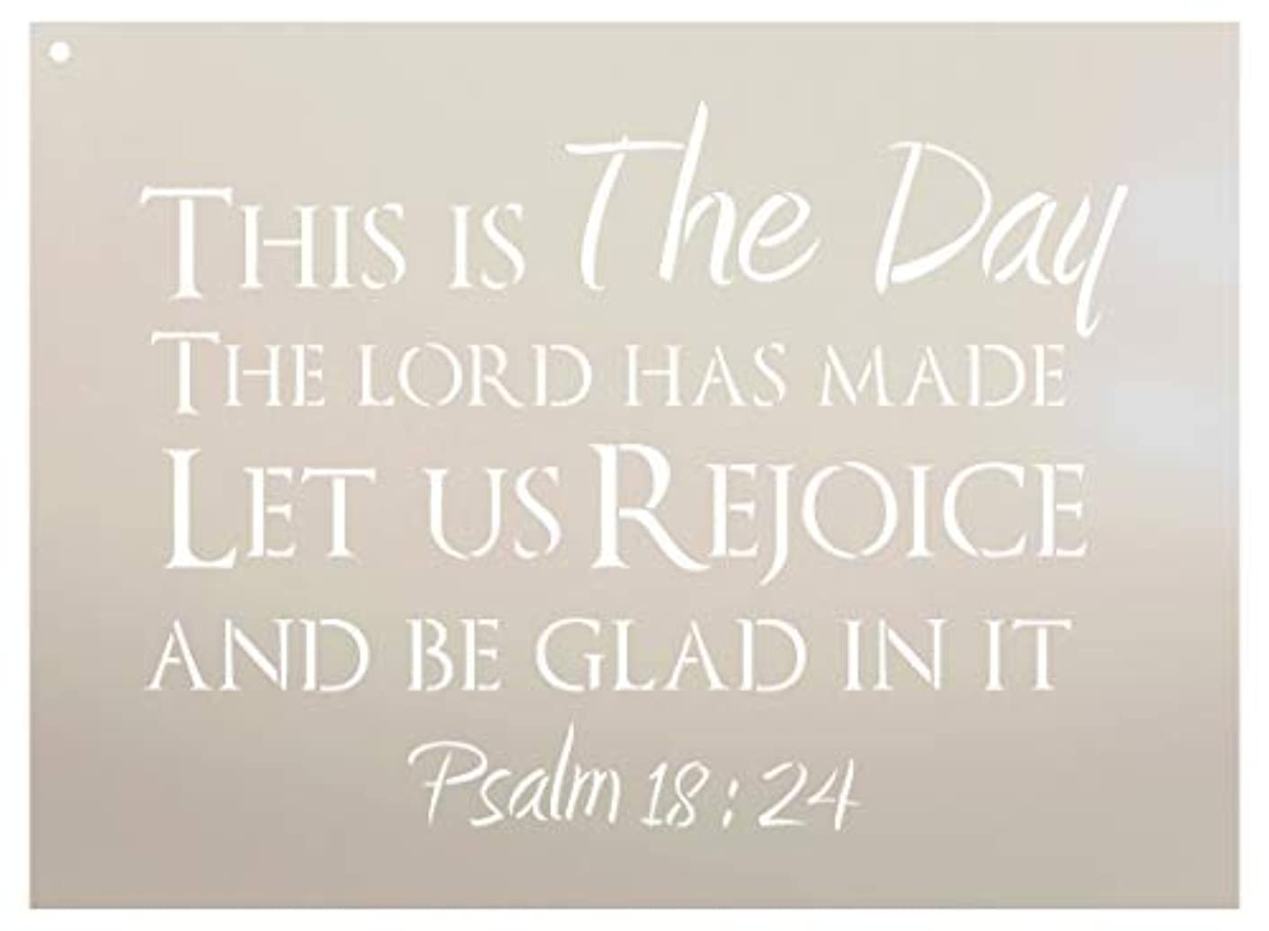 This is The Day - Psalm 18:24 Stencil by StudioR12 | Reusable Mylar Template | Use to Paint Wood Signs - Pillows - DIY Scripture Decor - Select Size (15