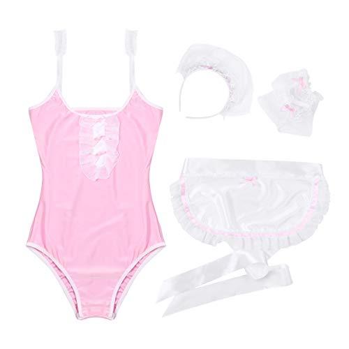 ZHANGHUIQIN Conjunto de 4 piezas de lencería para mujer con leotardo con delantal y aro para el pelo (color: rosa, tamaño: libre)