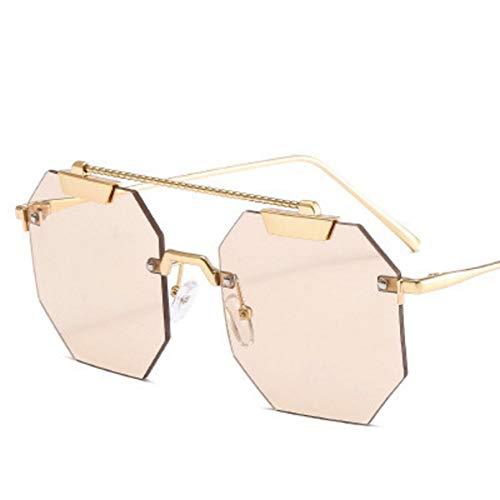 SHUHUI Polígono Montura Grande Gafas De Sol Cuadradas Mujeres Personalidad Océano Lente Gafas De Sol Retro Montura De Metal Sombras