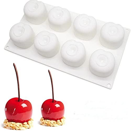 FSDELIV Molde de silicona para postre Mousse Cake Mold 8-Cavity Cherry Shape Herramientas de hornear para DIY Chocolate Pudding Candy