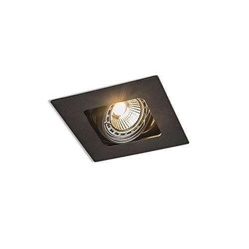 QAZQA Design/Modern Quadratischer Einbauspot schwarz schwenk- und neigbar - Artemis/Innenbeleuchtung/Wohnzimmerlampe/Schlafzimmer/Küche Stahl Quadratisch LED geeignet GU10 Max. 1 x 50 Watt