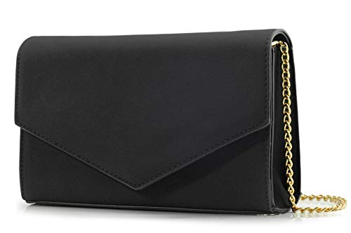 Minimalist Evening Envelope Clutch Chain Shoulder Bag Women Faux Leather Suede Purse (Black)