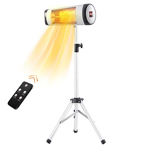 Antarctic Star Outdoor Heater Electric Patio Heater Infrared Heater for Indoor/Outdoor Use, Freestanding Waterproof Space Heater with Remote Control/Timer Display 3 Switch Garden with Tripod