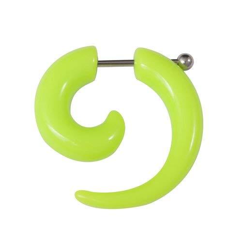 Espiral extensor falso para la oreja de acrílico verde menta con una dilatación de 6mm