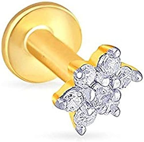 Gehlot Jewellery Gold Plated Nose Pin Stud For Women And Girl White